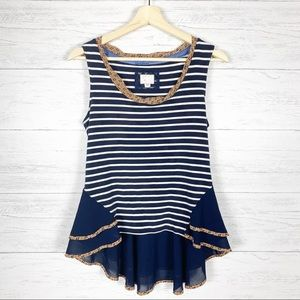 Postmark • Navy Striped Peplum Tank Top